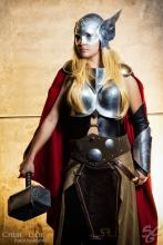 Jane Foster wears a slightly different costume than the original Thor.