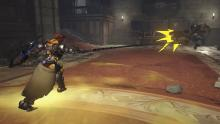 Brigitte uses her Rocket Flail, which pushes enemies back when it strikes them.