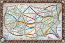 The board for Ticket to Ride