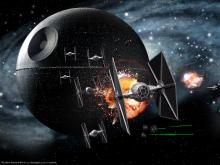 TIE fighters around the Death Star