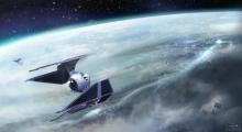 TIE Interceptor above a planet.