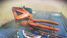 One of the rarest ships in the game, the tiger squid looks magnificent parked here at a trading post.