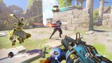 Baptiste uses his invincibility field to shield Soldier:76 in battle