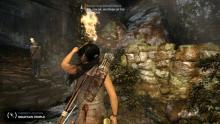 Determined to raid tombs, Lara follows this guy up the mountain.