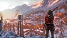 Lara Croft looks out at a snow covered city. What treasures will she find next?