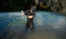 Noctis is catching frogs to complete Sania's quests