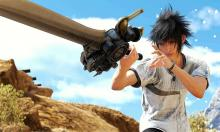 A tasteful shot of Noctis wielding the Ultima Blade