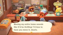 You can move a villager's house by speaking to Tom.