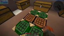 Omnifactory features special crafting tables that save recipes! These green/white tables can hold up to 9 recipes each.