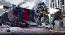 Space Marines stepping out of a transport vehicle into a hail of bullets. Leading an assault into the thick of battle can be dangerous and these Marines brought heavy equipment to answer back.