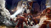 A squad of Grey Knights emerge, blasting their way through Chaos Berserkers