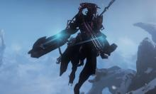 Hovering above the frozen land of Fortuna, a tenno surveys the area.