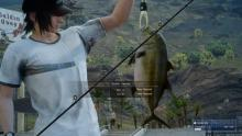 Noctis wearing his golfing outfit while fishing