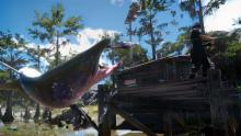 Sick action shot of Noctis reeling in a fish