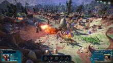 The human colonists use a mech suit to set their enemies ablaze in Age of Wonders: Planetfall
