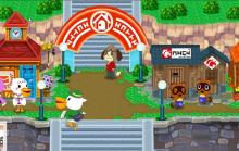 A beautiful shot of Main Street in our Animal Crossing town with our favorite NPC characters.
