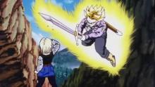 Apparently Trunks' time-traveling causes a ripple effect, as the new timeline's androids are much stronger than his own, to the point that Android 18 brings Vegeta to the brink. Having only just met (a version of) his father, Trunks acts to save the Saiyan prince.