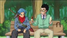 As one does, Future Trunks time-travels to the now-alternate past for help from the Dragon Gang to face Goku Black. While there, though, he visits with this timeline's version of Gohan, who has forsaken his fighting ways to become a scholar. (The man even eats ice-cream, the coward!)