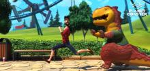 This guest didn't anticipate a dino chase during his park visit.