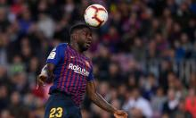 Samuel Umtiti winning the header in a Barcelona game
