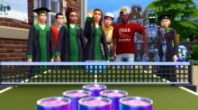 Sims in college can do college things like studying or playing beer pong
