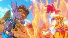 Super Saiyan God Goku challenging Beerus