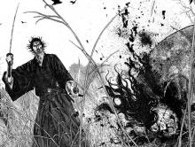 Musashi Miyamoto cuts down yet another enemy in this beautifully drawn panel from Vagabond
