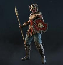 A Valkyrie stands battle ready, with spear and buckler