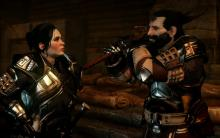 The dwarves Valta and Renn, characters introduced in The Descent DLC