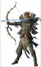 An elf with a magic aroow nocked in his bow takes aim to an enemy on the left.
