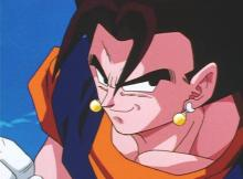 Vegito, the fusion of Goku and Vegeta, is introduced into the franchise. His power is also introduced as being absurdly high, being able to overwhelm Super Buu (who absorbed Mystic Gohan) with ease.