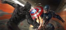 Black Panther's Vibranium Claws slash against Cap's Vibranium Shield
