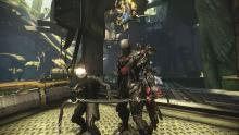 A warframe and its operator in the Grineer forest environment