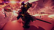 A warframe navigates Suda's Datascape with their trusty blade