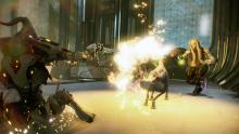 The mummy warframe slides towards an enemy unit while firing his pistols