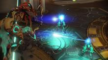 Ivara, perched on a zipline, aims at Corpus MOA units with her Artemis Bow