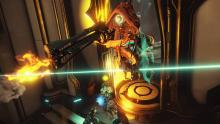 From her perch on a zipline, Ivara takes aim with the Rubico sniper rifle