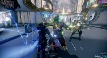 A character in a warframe attacks enemies during a mission