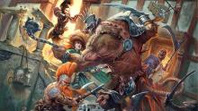 Adventurers take on a monstrous skaven attacking a town.