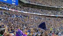 A sea of fans congregate in the stands for every Wembley match.