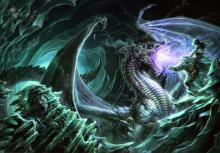 A White Dragon rises from the ice. the beasts breath is so cold that it freezes men in their steps.