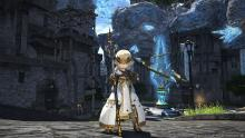 A White Mage shows off their new gear
