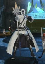 A White Mage stands outside an Aetheryte