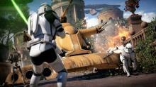 A Clone Trooper barely escapes a Separatist Tank.