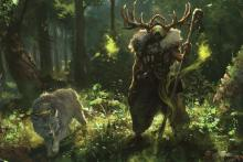 With a wolf at his side, a druid stands tall and menacing as he works to protect the nature around him from intruders.