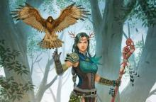 A hawk, one of the many wild shape options for druids, hovers above a druid's outstretched arm.