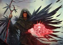 A druid casts his final spell as he begins to wild shape into a raven, the feathers growing rapidly across his form.