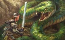 A Giant Snake, one of the many different forms a druid can take, moves to strike against its warrior opponent.