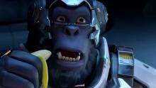 Winston eats a banana