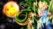 Goku achieving god like status stands alongside Shenron
